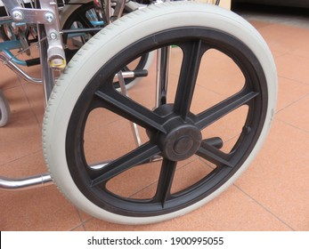 Wheelchair rear wheel is made up of a tyre, rim, spokes (or mags), and a hub, the hub is the center of the wheel, the spokes or mags connect the rim the hub and the rim