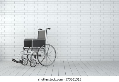 Wheelchair in room with white brick wall and wooden floor. 3D Illustration
