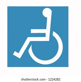 Wheel-Chair Sign, White on Blue
