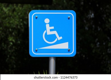 Wheelchair slope way sign for handicap