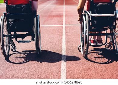 wheelchair sportsmens on track. wheelchair sportsmen