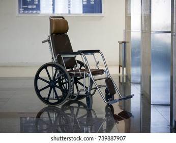 Wheelchair waiting in front of elevator in hospital