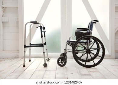 Wheelchair and a walker.
