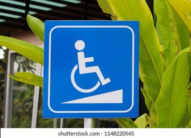 wheelchair walkway symbol or wheelchair slope symbol