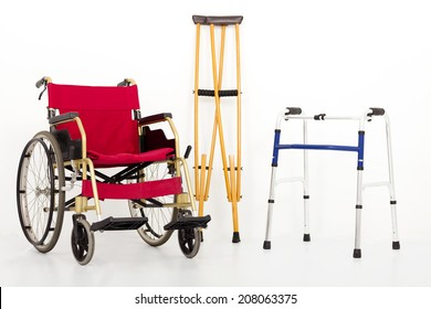 Wheelchair,crutches and Mobility aids. isolated on white background