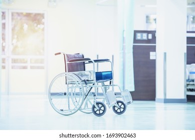 Wheelchairs in the hospital ,close up view of empty wheelchair. Wheelchairs waiting for patient services with copy space on area.
