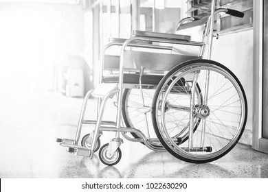 Wheelchairs in the hospital ,Wheelchairs waiting for patient services. with light copy space on left area