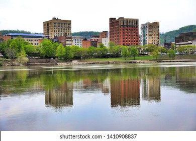 The Wheeling skyline as viewed from Wheeling Island across the Ohio River. The Heritage Port waterfront area is also shown in this image.