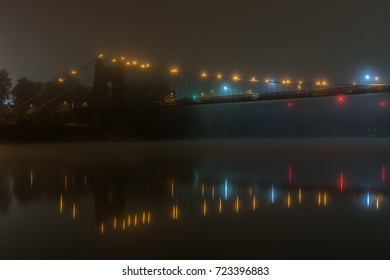Wheeling Suspension Bridge on a Foggy Night