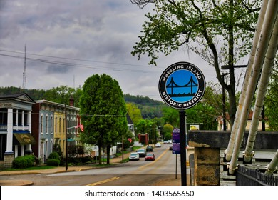 WHEELING, WEST VIRGINIA/ UNITED STATES - APRIL 25, 2019:  Wheeling Island is an important tourist destination in the city.  the area has a casino and race track.  It also has historic Victorian homes.