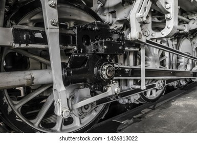 Wheels of a historic steam loco.