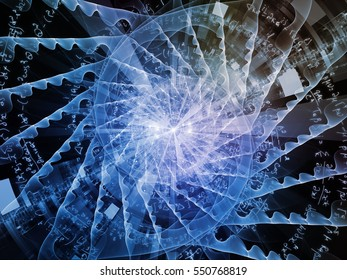 Wheels of Progress series. Backdrop design of gears and fractal radial elements for works on science, technology and education