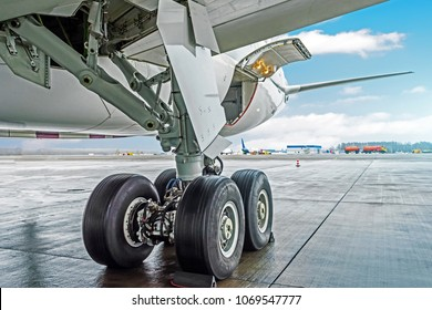 Wheels rubber tire rear landing gear racks airplane aircraft, under wing view