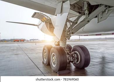 Wheels rubber tire rear landing gear racks, under wing view