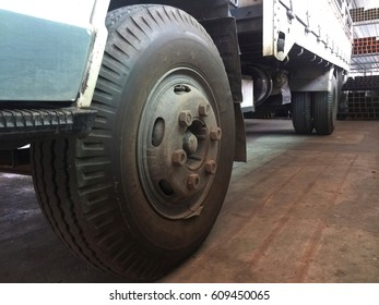 Wheels of A six wheel truck.big tire and strong.at the factory.for logistic.heavy duty.