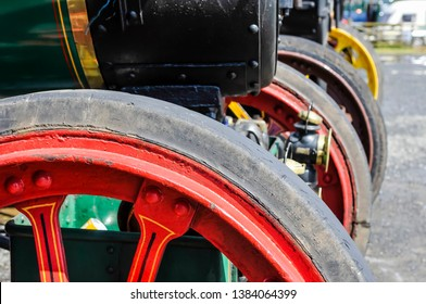 Wheels of traction engines at a steam fair