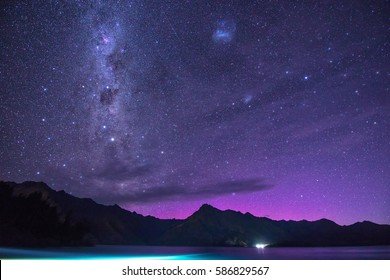 When aurora meets milky way