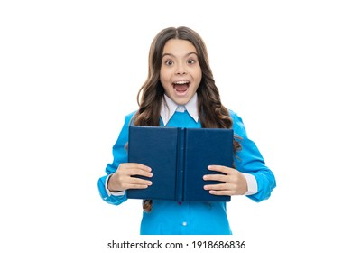When getting a new book. Happy child hold book. Scholarly library. School education. Crazy bibliophile isolated on white. Knowledge and information. Reading for her own enjoyment.
