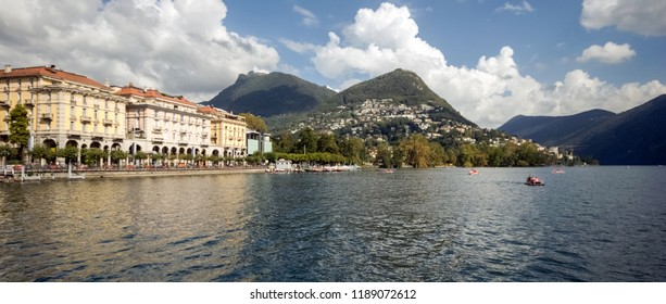 When taking a boat from Lugano to Gandria on the Lake Lugano you can enjoy gorgeous views on the city of Lugano in the canton of Ticino (Switzerland)