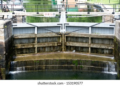 When the water is down, the stone foundation of Chaffey's Lock comes into view.