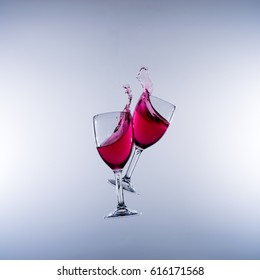 When Wines Collide - Motion capture image of two wine glasses colliding in mid air and the resultant splashes and spillage.