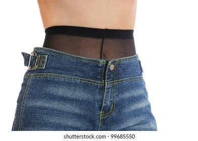 When you can see the pantyhose under a hip jeans it is one of the greatest fashion sind of the younger generation