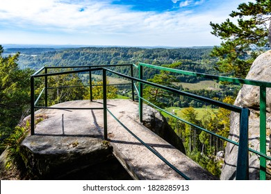 Where is my home, Czech: Kde domov muj, name of Czech national anthem and lookout point on the top of sandstone rock formation. Besedice Rocks in Bohemian Paradise - Shutterstock ID 1828285913