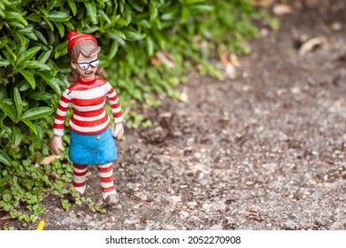 Wheres Wally Wilma figurine at a model village in England