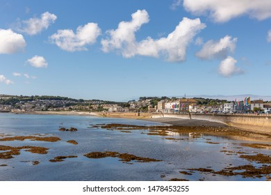 WHERRYTOWN, UNITED KINGDOM - SEPTEMBER 13, 2018 : Seafront of Wherrytown, a small settlement between Newlyn and Penzance in Cornwall, England.