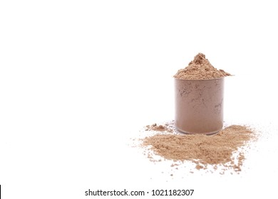Whey protein powder chocolate flavour isolated with scoop measure for fitness and bodybuilding gaining muscle on white floor  background.Concept of Food,Health care,Sport.Copy space for text.