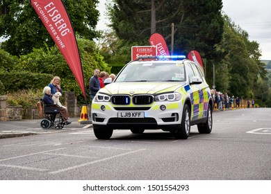 WHICKHAM, NEWCASTLE UPON TYNE, ENGLAND, UK - SEPTEMBER 09, 2019: The trailing Police support vehicle at the first sprint points line of Stage 4 of the Tour of Britain.