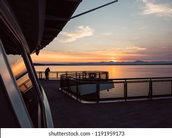 WHIDBEY ISLAND, WASHINGTON - AUGUST 6, 2018: Sunrise on the Washington State Ferries