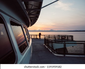WHIDBEY ISLAND, WASHINGTON - AUGUST 6, 2018: Sunrise on the Washington State Ferries