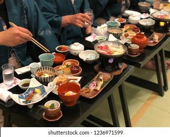 "While have a Japanese food Kaiseki set dinner at Ryokan ""Japanese style hotel"", Takayama Japan"