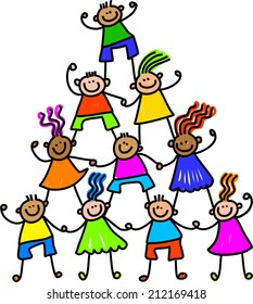 Whimsical cartoon illustration of a group of happy and diverse children forming a tower.