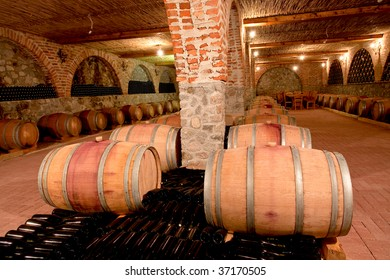 Whine barrels in a cellar