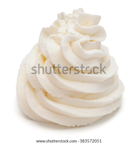 4e3a61412 Whipped Cream Swirl Isolated On White Stock Photo (Edit Now ...