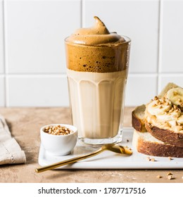 Whipped Instant Dalgona Coffee with Peanut Butter Banana Toast, square