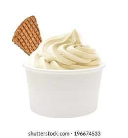 Whipped soft vanilla ice cream or yogurt with belgian waffle in low blank paper or cardboard cup mockup or mock up template isolated on white background