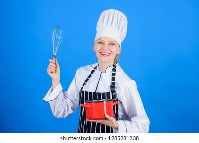 Whipping cream tips and tricks. Use hand whisk. Woman professional chef hold whisk and pot. Whipping like pro. Girl in apron whipping eggs or cream. Start slowly whisking whipping or beating cream.