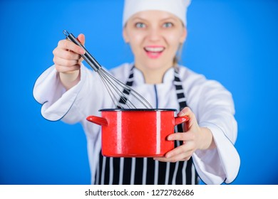 Whipping cream tips and tricks. Woman professional chef hold whisk and pot. Start slowly whisking whipping or beating cream. Whipping like pro. Girl in apron whipping eggs or cream. Use hand whisk.