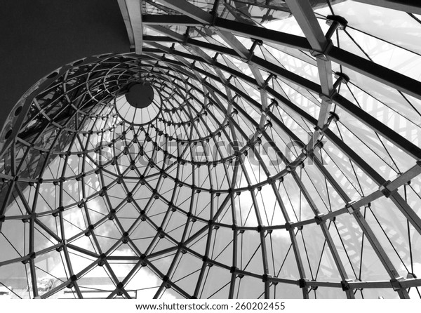 Whirl architecture rooftop in black and white