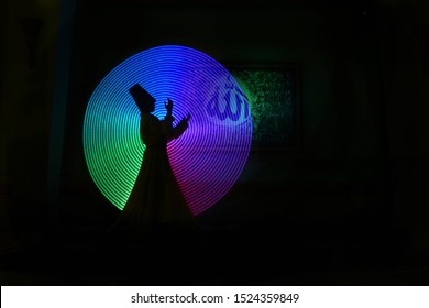 whirling Sufi dance in silhouette