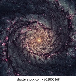 Whirlpool galaxy, M51. Starlight and light from the emission of glowing hydrogen, which is associated with the most luminous young stars in the spiral arms. Elements of this image furnished by NASA.