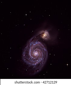 The Whirlpool Galaxy, Messier Object 51, colliding with another Galaxy
