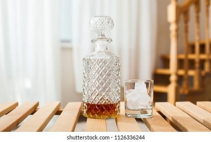 Whiskey, Bocal and bottle of whiskey
