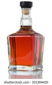 Whiskey Bottle with Beautiful Amber Colors Whiskey Isolated