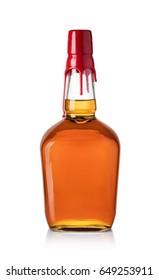 whiskey bottle isolated on white background