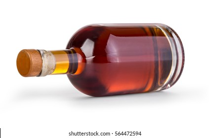 whiskey bottle on white background with clipping path