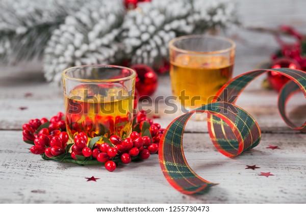 Christmas Liquor.Whiskey Brandy Liquor Shot Christmas Decorations Stock Photo